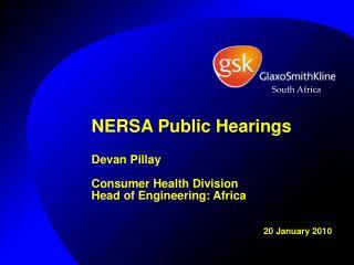 NERSA Public Hearings Devan Pillay Consumer Health Division