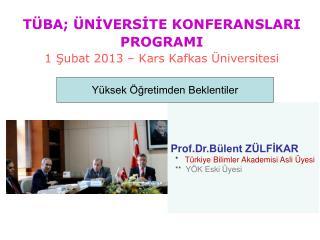 Prof.Dr .Bülent ZÜLFİKAR   *    Türkiye Bilimler Akademisi Asli Üyesi   **   YÖK Eski Üyesi