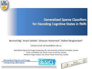 Generalized Sparse Classifiers  for Decoding Cognitive States in  fMRI