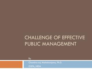 Challenge of Effective Public Management