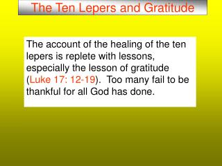 The Ten Lepers and Gratitude