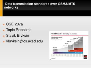 Data transmission standards over GSM/UMTS networks