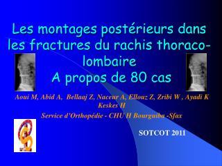 Les montages postérieurs dans  les fractures du rachis  thoraco -lombaire   A propos de 80 cas