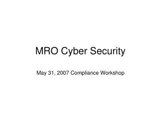 MRO Cyber Security