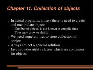 Chapter 11: Collection of objects