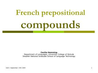 French prepositional  compounds