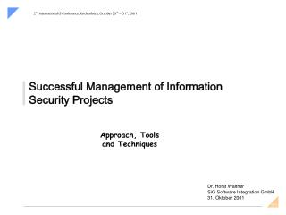 Successful Management of Information Security Projects