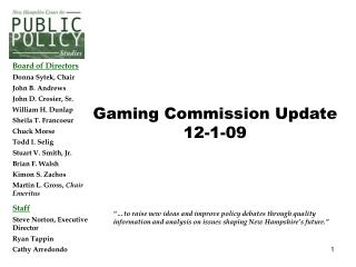 Gaming Commission Update 12-1-09