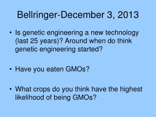 Bellringer-December 3, 2013