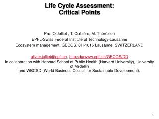 Life Cycle Assessment: Critical Points