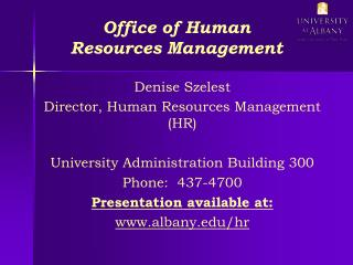 Office of Human Resources Management