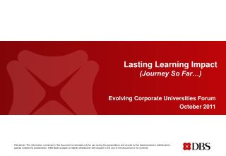 Lasting Learning Impact (Journey So Far…)