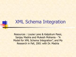 XML Schema Integration