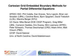 Cartesian Grid Embedded Boundary Methods for Partial Differential Equations