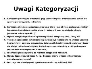 Uwagi Kategoryzacji