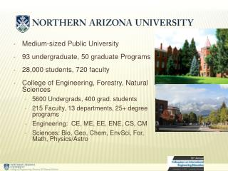 Medium-sized Public University 93 undergraduate, 50 graduate Programs 28,000 students, 720 faculty