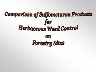 Comparison of Sulfometuron Products for Herbaceous Weed Control on Forestry Sites