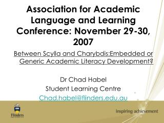 Association for Academic Language and Learning Conference: November 29-30, 2007