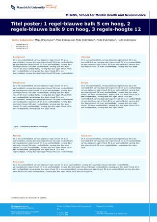 Titel poster; 1 regel-blauwe balk 5 cm hoog, 2 regels-blauwe balk 9 cm hoog, 3 regels-hoogte 12
