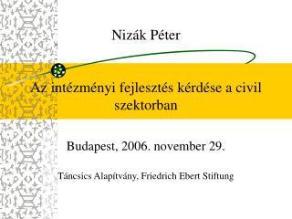 Nizák Péter Az intézményi fejlesztés kérdése a civil szektorban