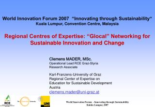 Clemens MADER, MSc. Operational Lead RCE Graz-Styria Research Associate