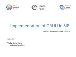 Implementation of GRUU in SIP