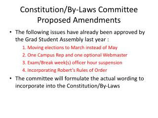 Constitution/By-Laws Committee Proposed Amendments