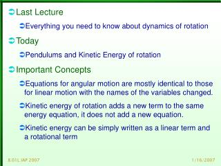 Last Lecture Everything you need to know about dynamics of rotation Today