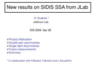 New results on SIDIS SSA from JLab