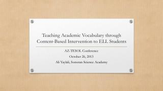 Teaching Academic Vocabulary through