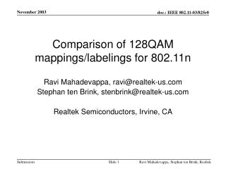 Comparison of 128QAM mappings/labelings for 802.11n