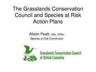 The Grasslands Conservation Council and Species at Risk Action Plans