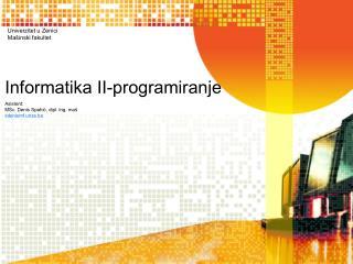 Informatika II-programiranje