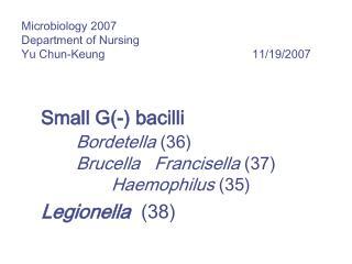 Microbiology 2007 Department of Nursing Yu Chun-Keung       11/19/2007