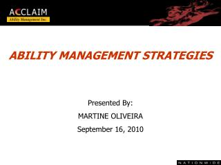 ABILITY MANAGEMENT STRATEGIES