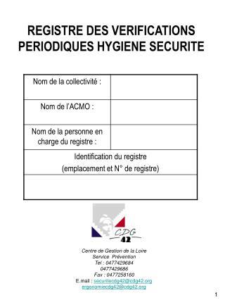 REGISTRE DES VERIFICATIONS PERIODIQUES HYGIENE SECURITE