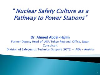 """ Nuclear Safety Culture as a Pathway to Power Stations"""
