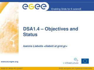 DSA1.4  –  Objectives and Status