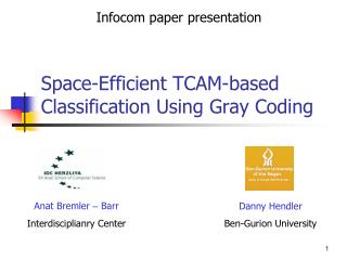 Space-Efficient TCAM-based Classification Using Gray Coding
