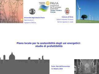 Piano locale per la sostenibilità degli usi energetici:  studio di prefattibilità