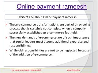 View about online payment Rameesh