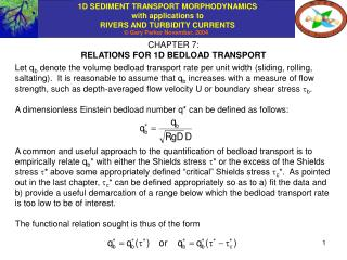 CHAPTER 7: RELATIONS FOR 1D BEDLOAD TRANSPORT