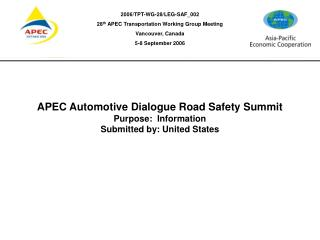 APEC Automotive Dialogue  Road Safety Summit