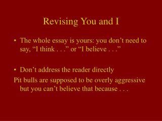 Revising You and I