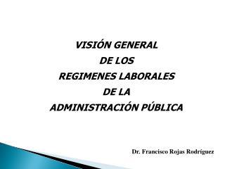 VISIÓN GENERAL  DE LOS REGIMENES LABORALES DE LA  ADMINISTRACIÓN PÚBLICA