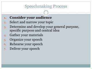Speechmaking Process