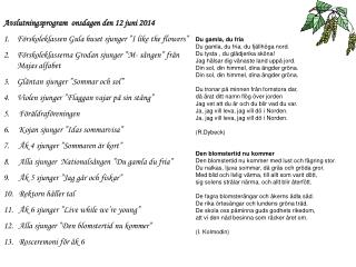 Avslutningsprogram  onsdagen den 12 juni 2014