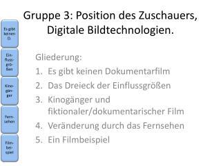 Gruppe 3: Position des Zuschauers, Digitale Bildtechnologien.