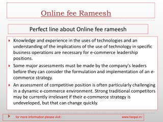 View about online fee Rameesh