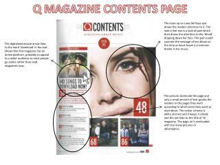 Q MAGAZINE CONTENTS PAGE